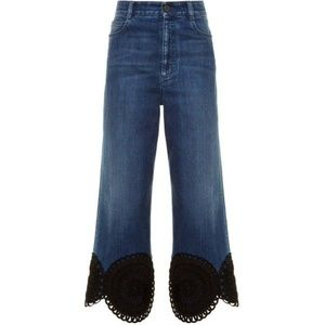 Stella McCartney Lace-hem Wide-leg Cropped Jeans